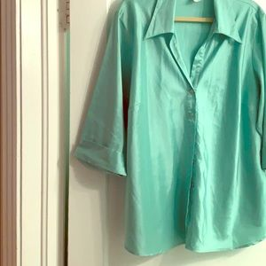 Holiday shimmering teal blouse